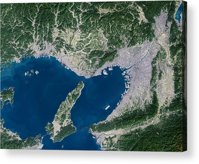Osaka Acrylic Print featuring the photograph Osaka, Satellite Image by Planetobserver