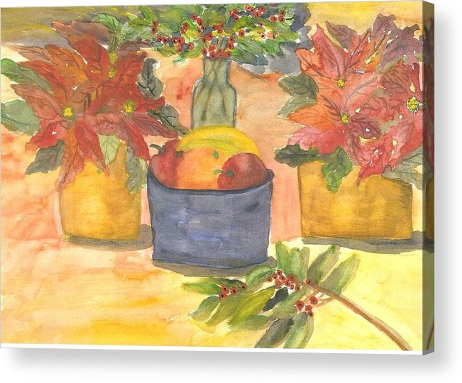 Poinsettia Acrylic Print featuring the painting Poinsettias Holly And Table Fruit by Thelma Harcum