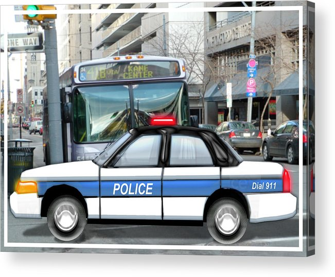 Police Acrylic Print featuring the painting Proud Police Car In The City by Elaine Plesser