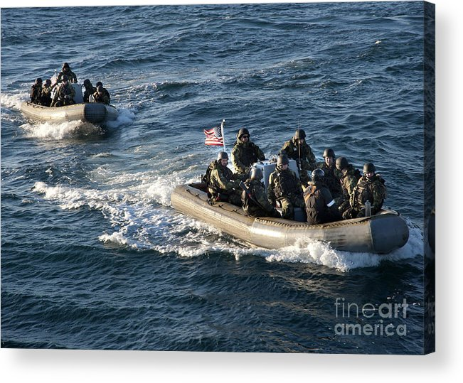 Inflatable Boats Acrylic Print featuring the photograph Sailors Participate In A Visit, Board by Stocktrek Images
