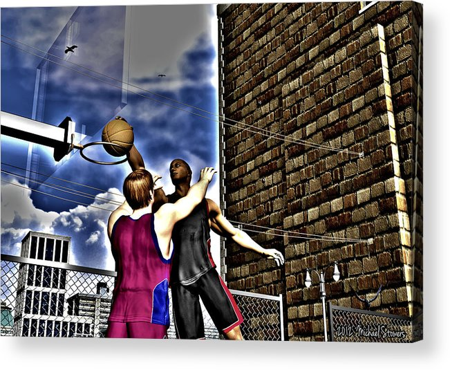 Basketball Acrylic Print featuring the digital art Slammed by Michael Stowers