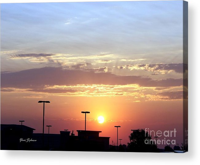 Sun Acrylic Print featuring the photograph Sunrise Over The Shopping Mall by Yumi Johnson