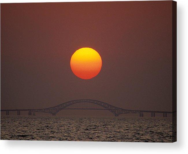 Sunset Acrylic Print featuring the photograph Sunset Over Robert Moses Bridge by Larry Landolfi