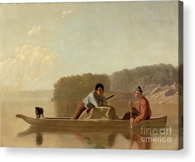 The Acrylic Print featuring the painting The Trapper's Return by George Caleb Bingham