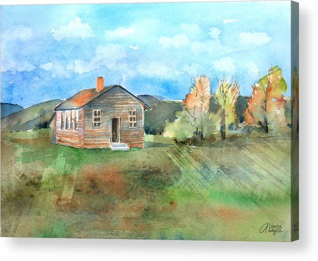 Schoolhouse Acrylic Print featuring the painting The Vacant Schoolhouse by Arline Wagner
