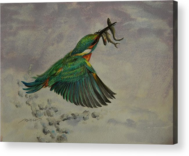 Fish Acrylic Print featuring the painting Triple Catch by Min Wang