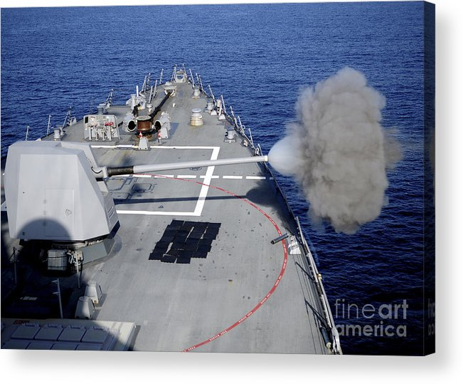 Shooting Acrylic Print featuring the photograph Uss Halsey Fires Its Mk-45 by Stocktrek Images