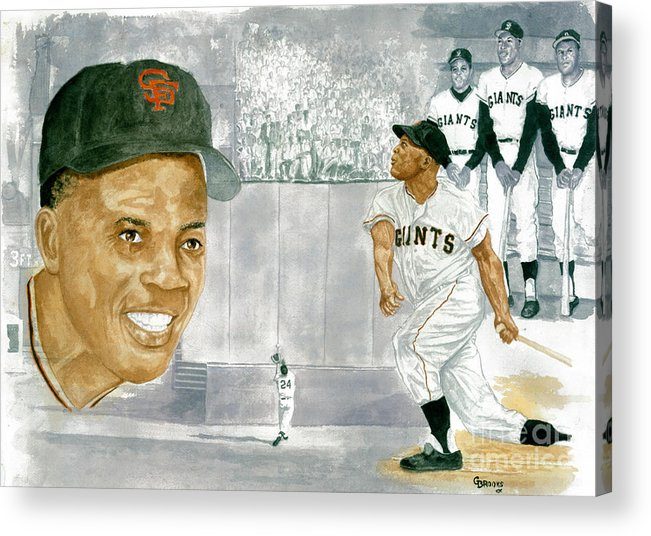 Willie Mays Acrylic Print featuring the painting Willie Mays - The Greatest by George Brooks
