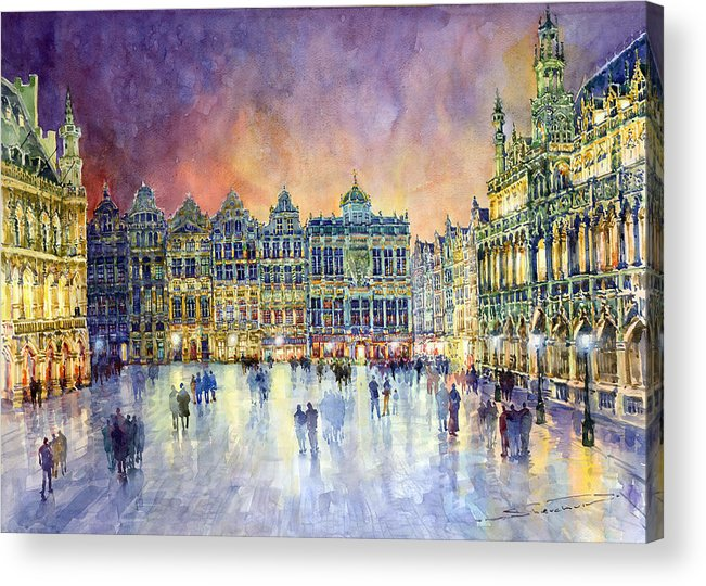 Watercolor Acrylic Print featuring the painting Belgium Brussel Grand Place Grote Markt by Yuriy Shevchuk
