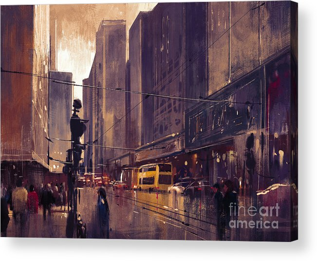 Abstract Acrylic Print featuring the painting City Street by Tithi Luadthong