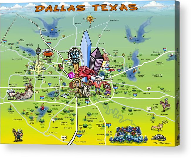 Dallas Acrylic Print featuring the painting Dallas Texas Cartoon Map by Kevin Middleton