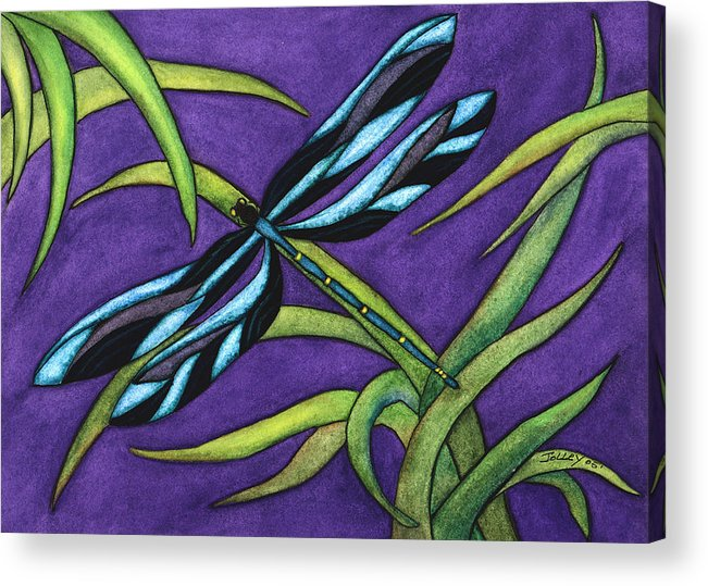 Watercolor Acrylic Print featuring the painting Dragonfly by Stephanie Jolley