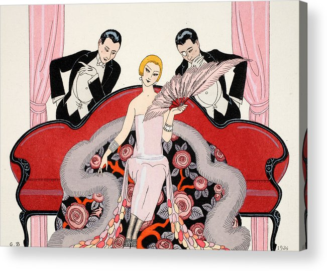 Couch Acrylic Print featuring the painting Falbalas Et Fanfreluches by Georges Barbier