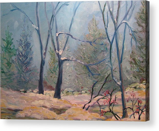 Forest Acrylic Print featuring the painting Forest At Twilight by Belinda Consten