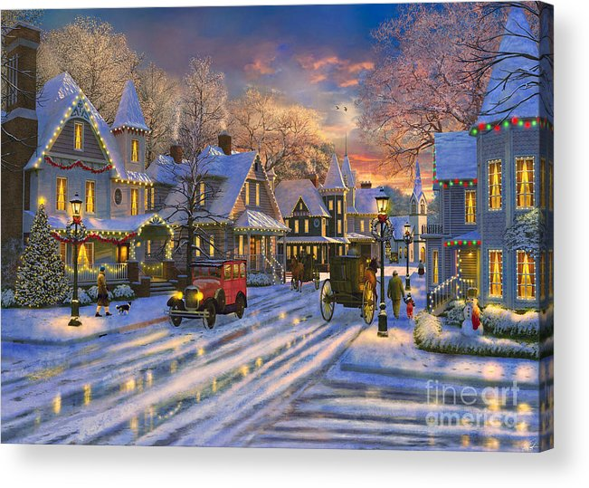 christmas acrylic print featuring the digital art small town christmas by dominic davison