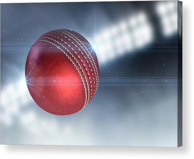 Cricket Acrylic Print featuring the digital art Ball Flying Through The Air by Allan Swart