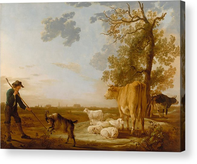 Aelbert Cuyp Acrylic Print featuring the painting Landscape With Cattle by Aelbert Cuyp