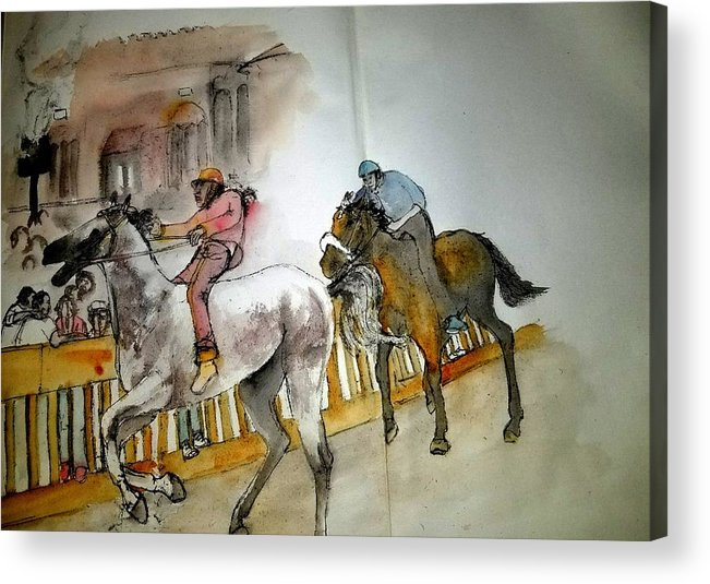 Il Palio Di Siena. Siena. Italy. Horse Race. Event. Medieval Acrylic Print featuring the painting Still Racing After 400 Yrs Album by Debbi Saccomanno Chan