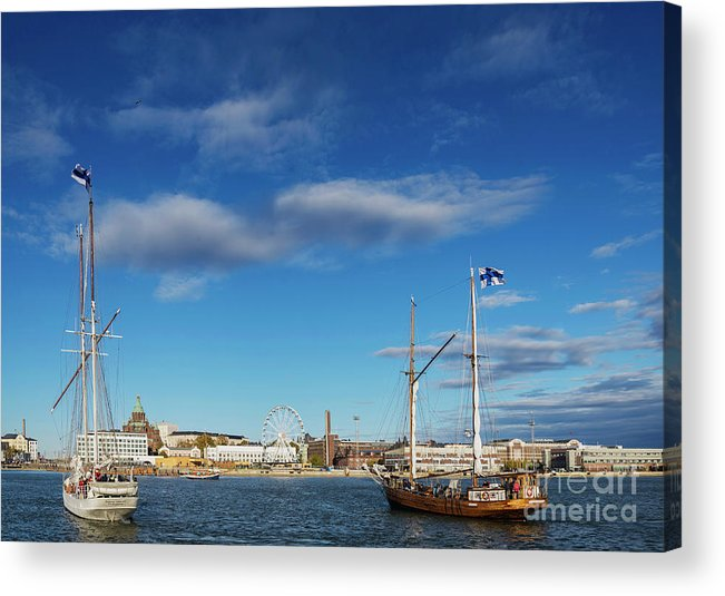Architecture Acrylic Print featuring the photograph Old Sailing Boats In Helsinki City Harbor Port Finland by Jacek Malipan