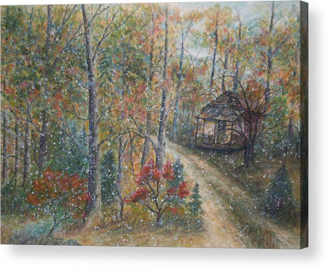 Country Road; Old House; Trees Acrylic Print featuring the painting A Bend In The Road by Ben Kiger