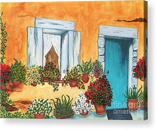 Watercolor Painting Acrylic Print featuring the painting A Cottage In The Village by Patricia Griffin Brett