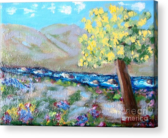 Landscapes Acrylic Print featuring the painting A Quiet Place by Laurie Morgan