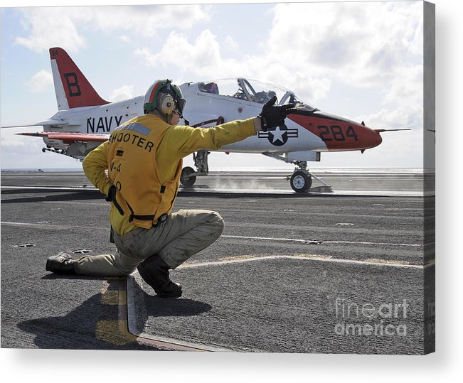 Motioning Acrylic Print featuring the photograph A Shooter Launches A T-45 Goshawk by Stocktrek Images