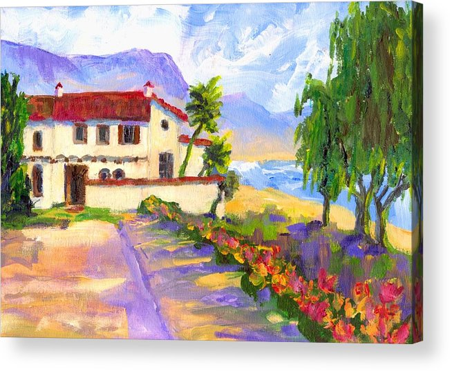 Spanish Acrylic Print featuring the painting Adamson Home Malibu by Randy Sprout