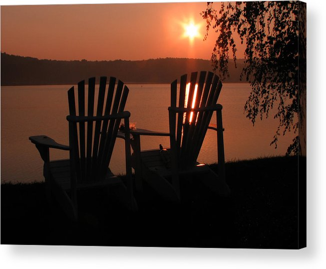 Lakes Region Photographs Acrylic Print featuring the photograph Adirondack Chairs-1 by Michael Mooney