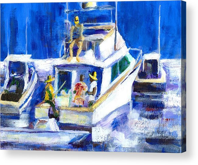 Fishing Acrylic Print featuring the mixed media After The Catch Sold by Randy Sprout