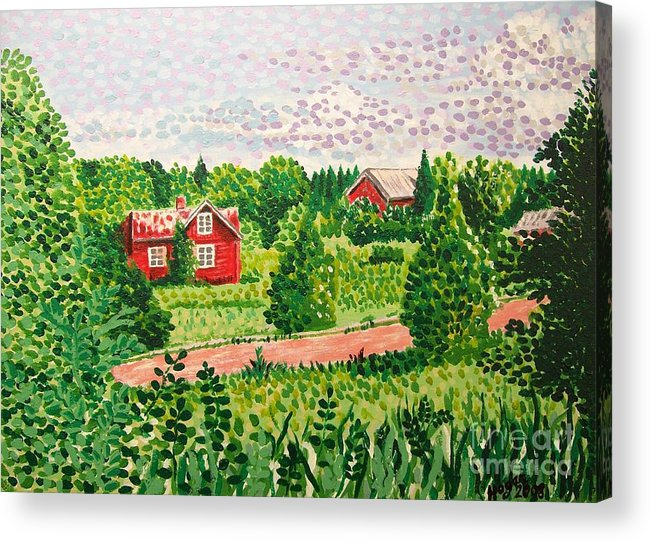 Aland Acrylic Print featuring the painting Aland Landscape by Alan Hogan