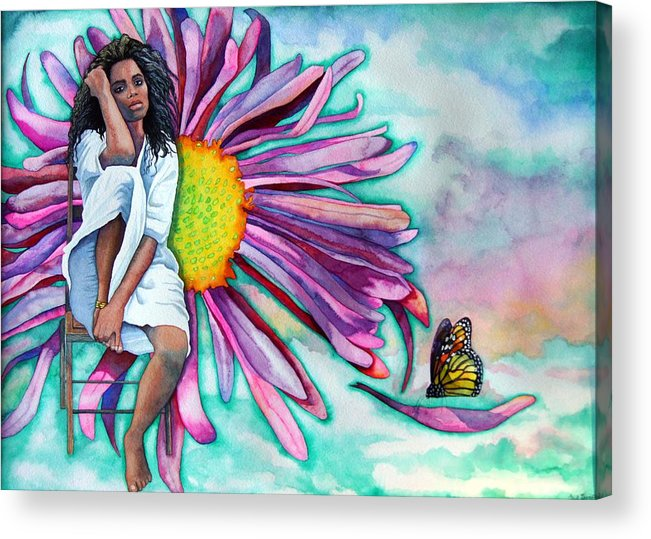 Woman/flower/surrealism Acrylic Print featuring the painting Alone by Gail Zavala