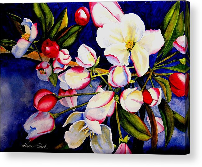 Apple Blossoms Acrylic Print featuring the painting Apple Blossom Time by Karen Stark