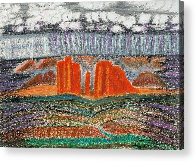 Red Rocks Acrylic Print featuring the drawing Arizona Rain by Ingrid Szabo