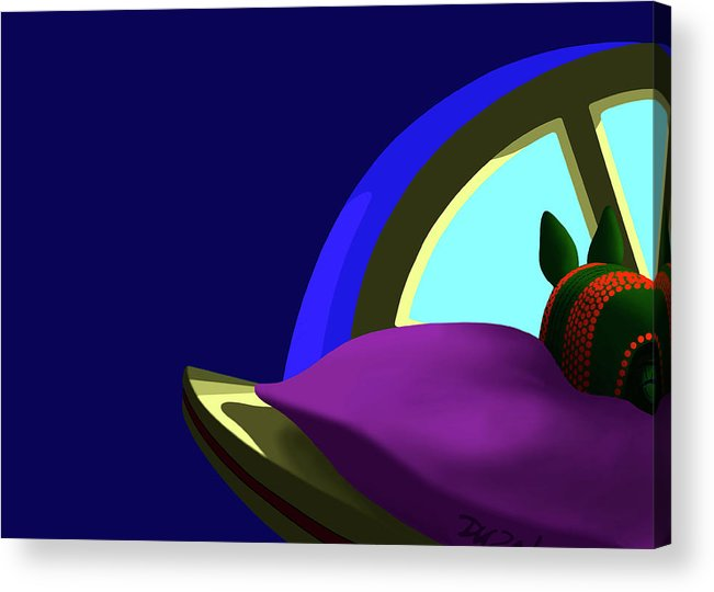 Dkzn Acrylic Print featuring the digital art Armadillo On A Pillow by Tom Dickson