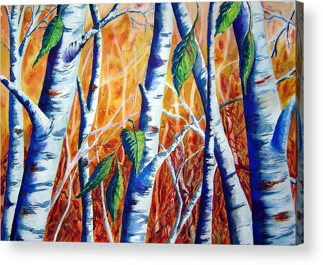 Autumn Birch Trees Acrylic Print featuring the painting Autumn Birch by Joanne Smoley