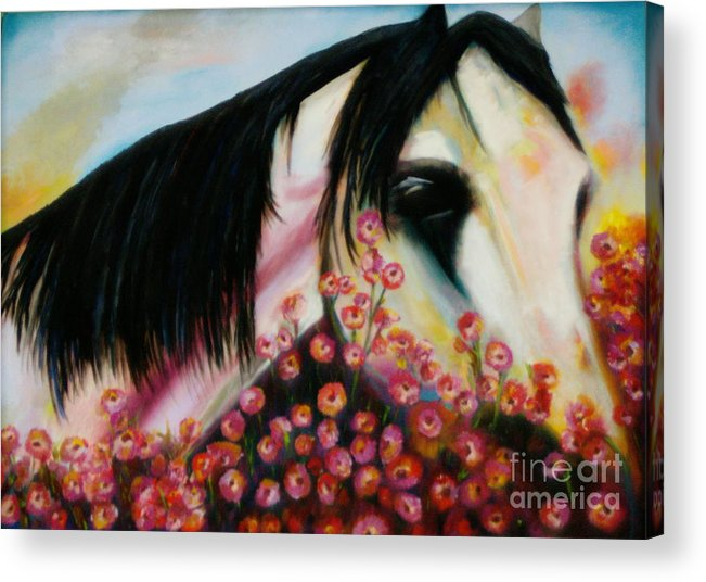 Horse Acrylic Print featuring the painting Avalon's Rose by Sidra Myers