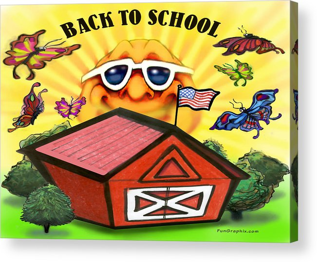 School Acrylic Print featuring the greeting card Back To School by Kevin Middleton