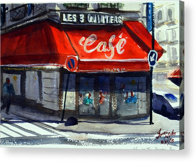 Cafe Acrylic Print featuring the painting Bar Les 3 Quartiers by James Nyika
