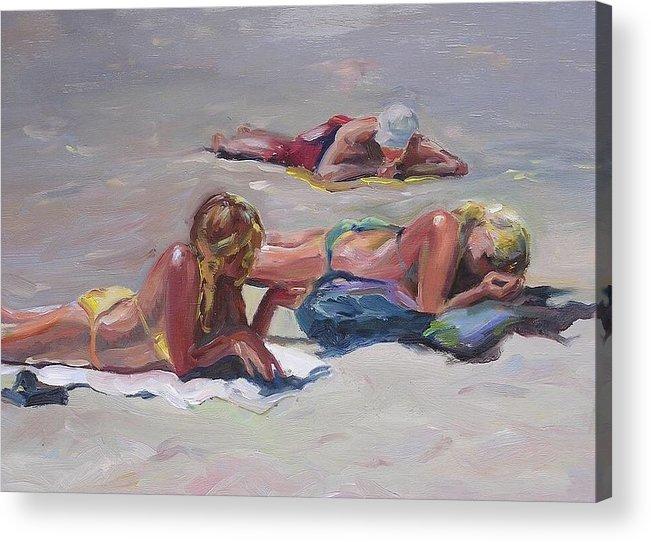 Girls In Bikinis College Kids On Beach People On Beach Sand Grey Tanned Girls Acrylic Print featuring the painting Beach Talk by Elizabeth Taft