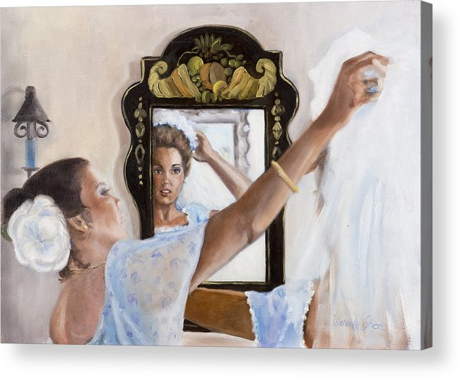 Portrait Acrylic Print featuring the painting Before The Ceremony by Victoria Shea