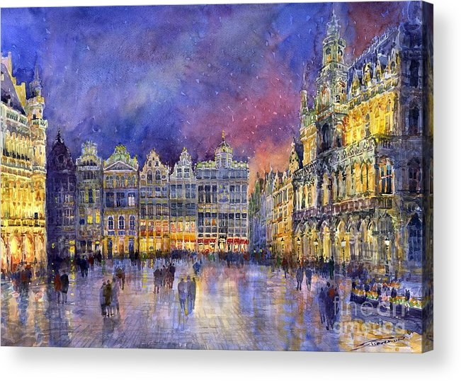 Watercolour Acrylic Print featuring the painting Belgium Brussel Grand Place Grote Markt by Yuriy Shevchuk