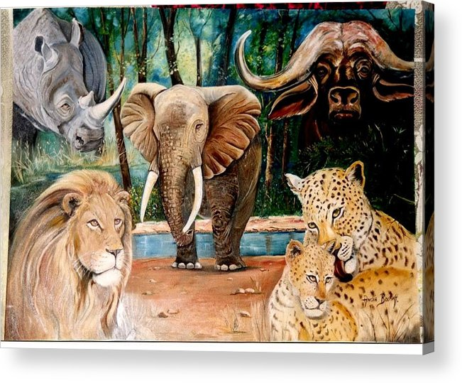 Animals Acrylic Print featuring the painting Big 5 by Ansie Boshoff
