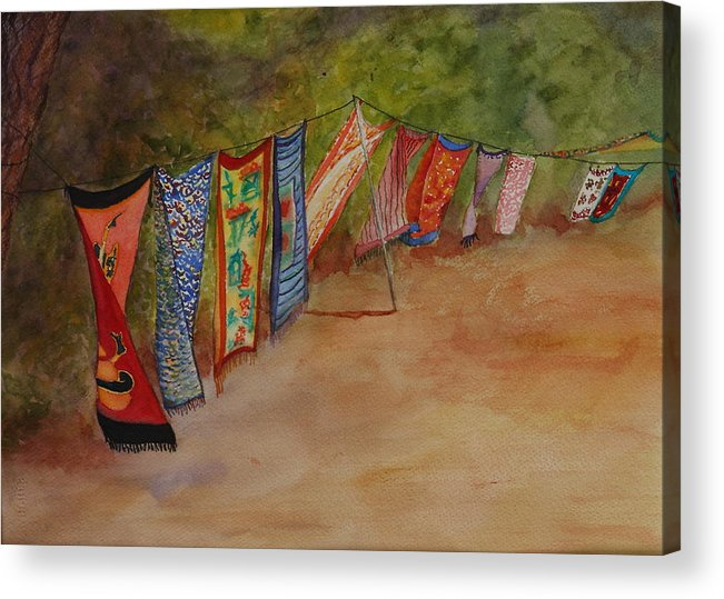 Sari Acrylic Print featuring the painting Blowin' In The Wind by Ruth Kamenev