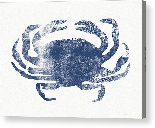 Cape Cod Acrylic Print featuring the painting Blue Crab- Art By Linda Woods by Linda Woods