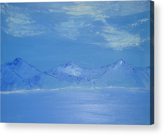 Mountains Acrylic Print featuring the painting Blue Landscape by Liz Vernand