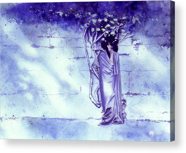 Woman Acrylic Print featuring the painting Blue Mood by Ken Meyer