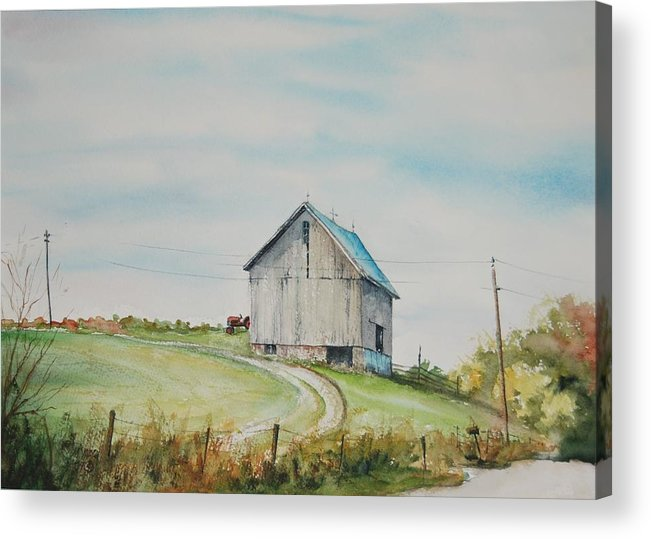 Landscape Acrylic Print featuring the painting Blue Skies by Mike Yazel
