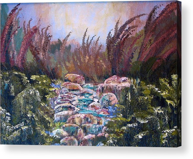 Water Acrylic Print featuring the painting Blue Water by Laura Tveras