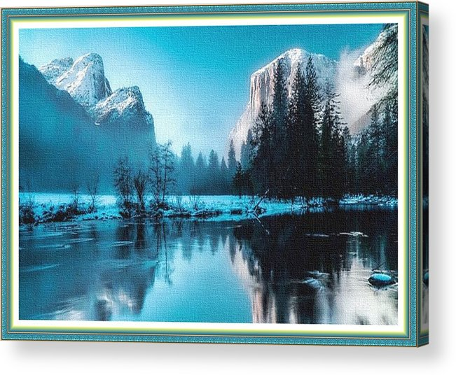 Rural Acrylic Print featuring the painting Blue Winter Fantasy. L B With Decorative Ornate Printed Frame. by Gert J Rheeders